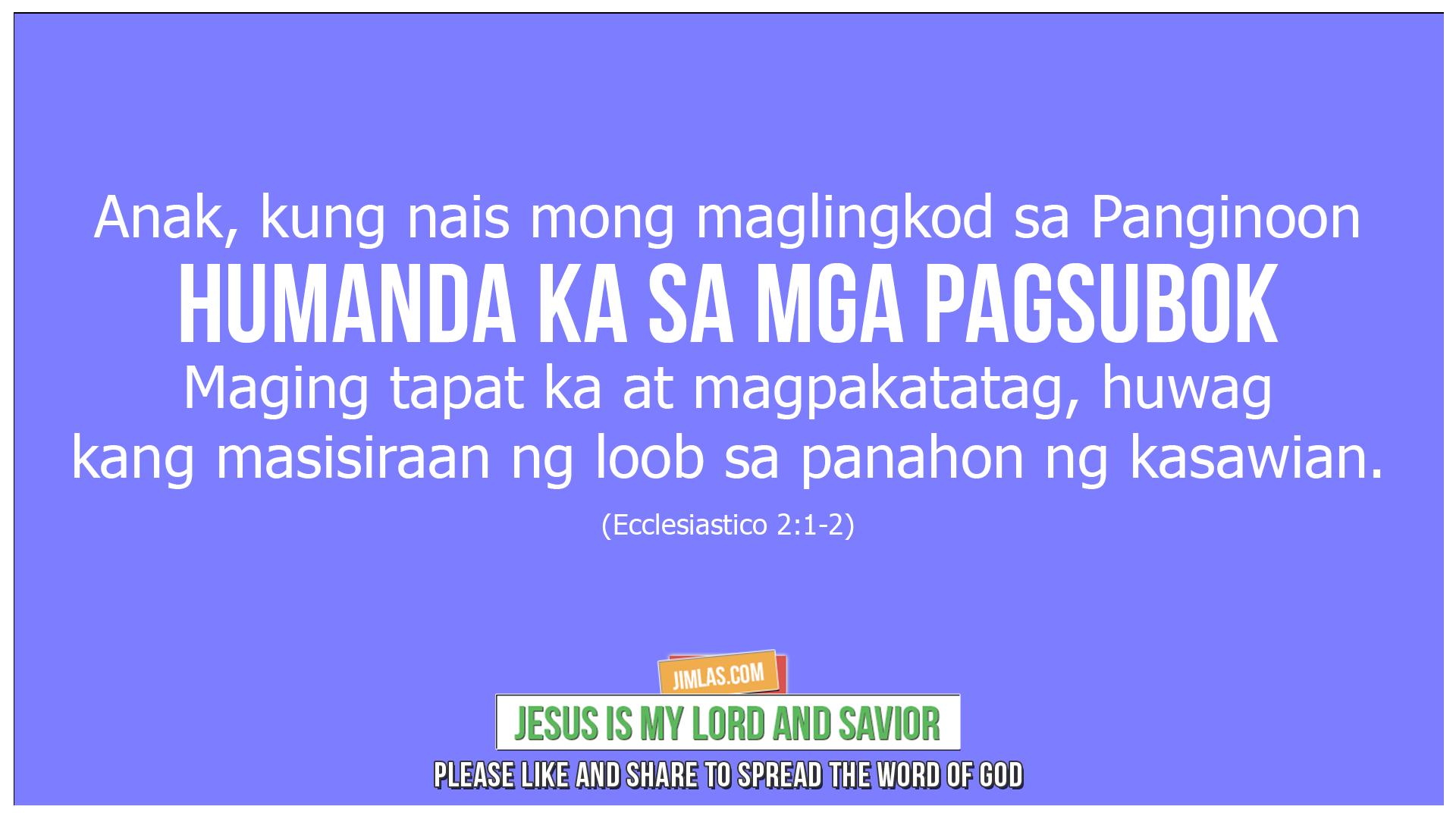 ecclesiastico 2 1-2, Ecclesiastico 2:1-2
