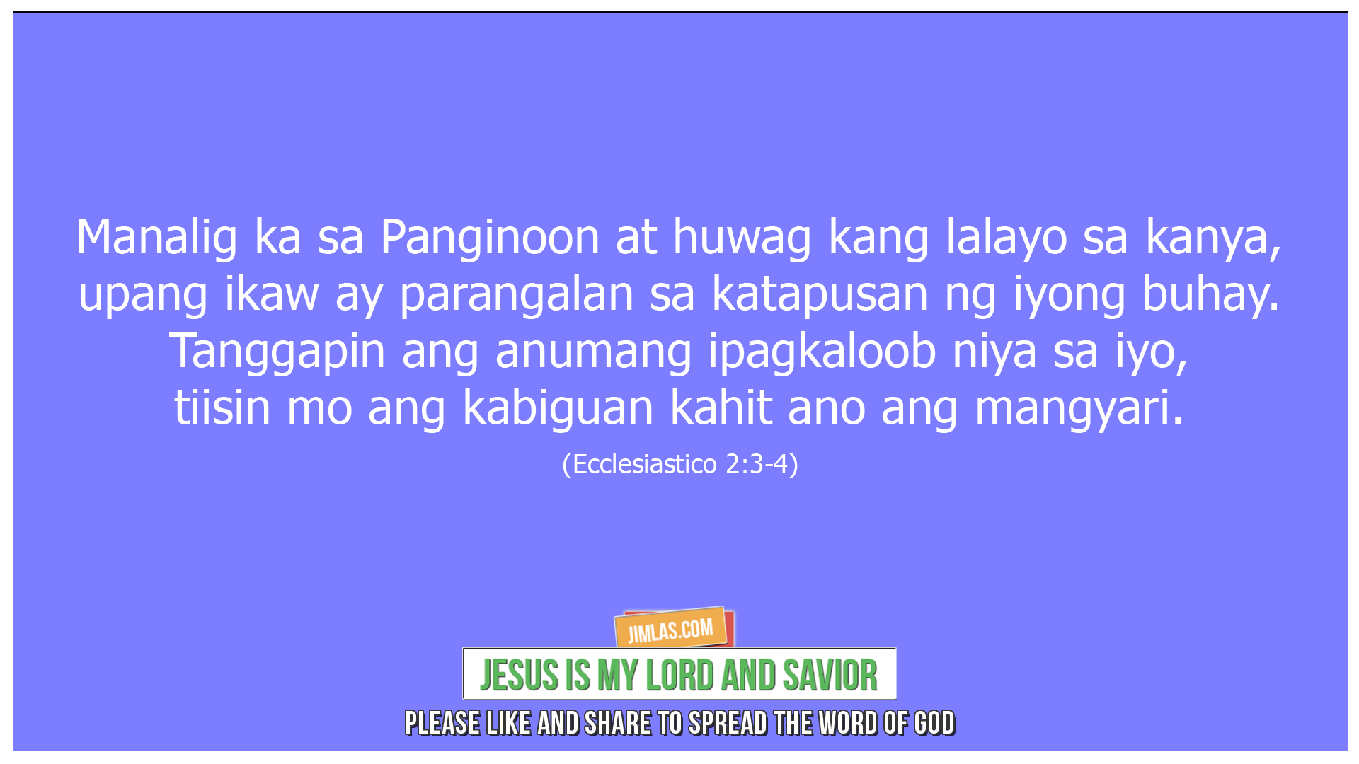 ecclesiastico 2 3-4, Ecclesiastico 2:3-4
