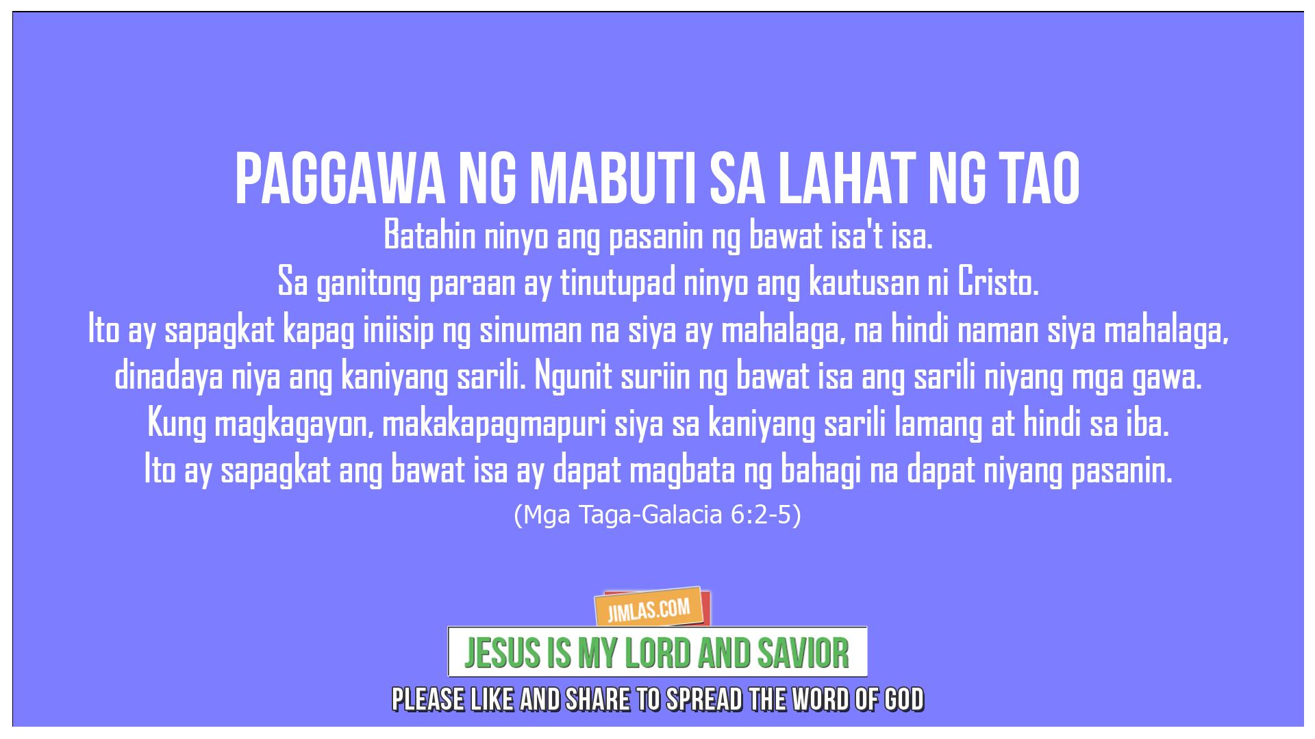 Mga Taga-Galacia 6:2-5, Mga Taga-Galacia 6:2-5