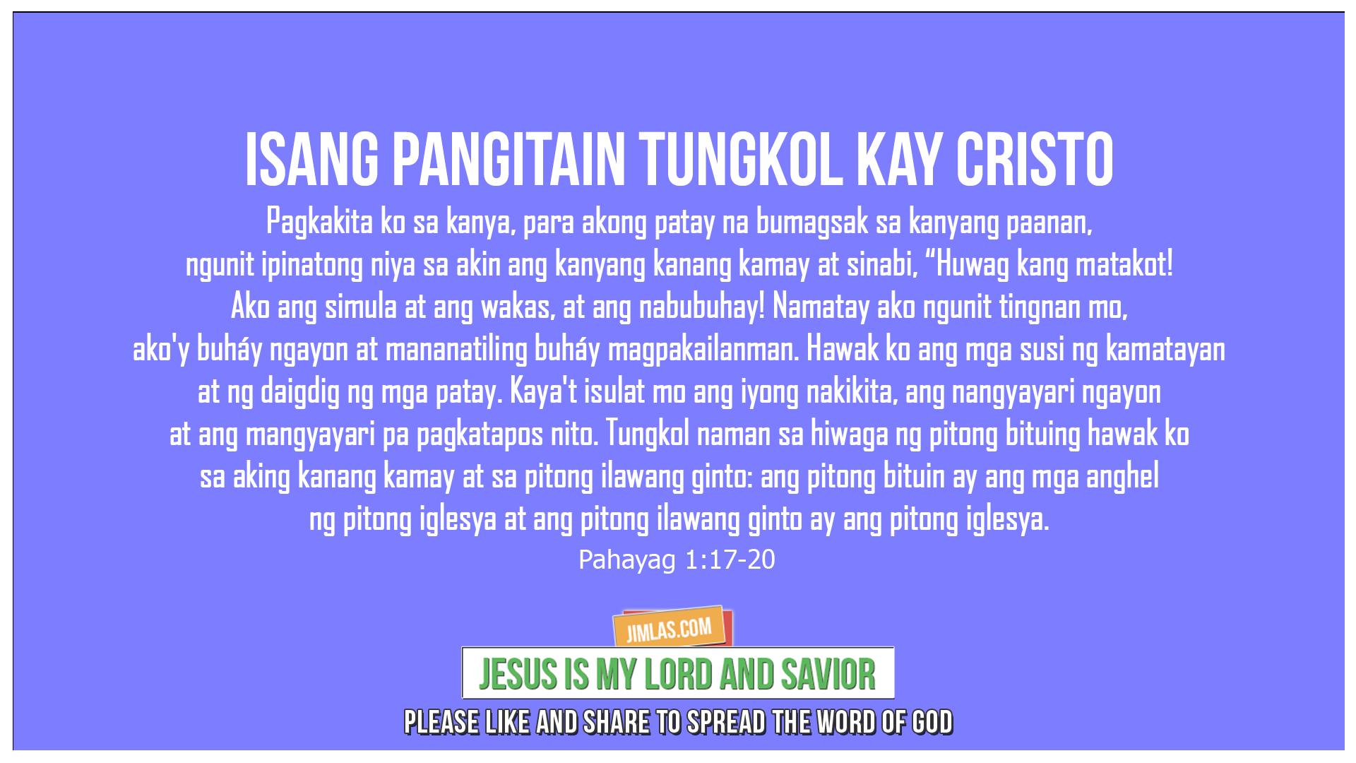 Pahayag 1:17-20, Pahayag 1:17-20
