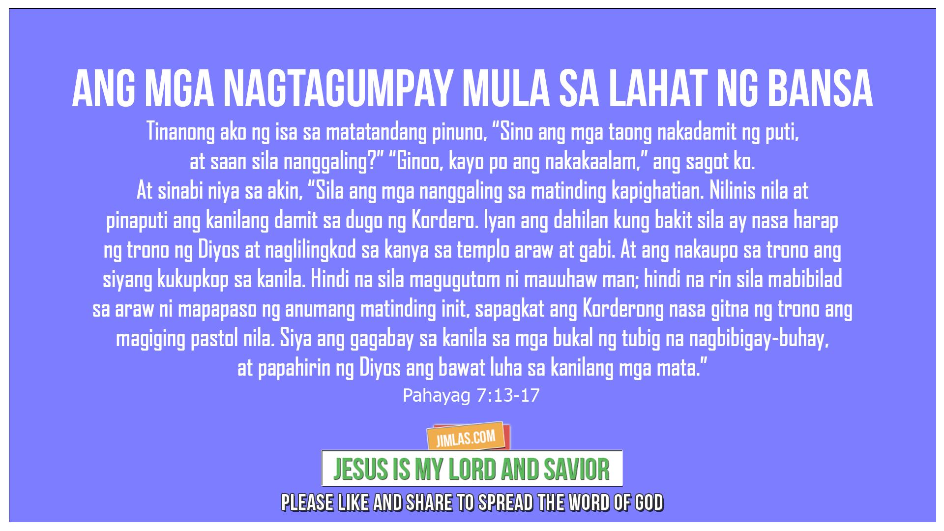 Pahayag 7:13-17, Pahayag 7:13-17