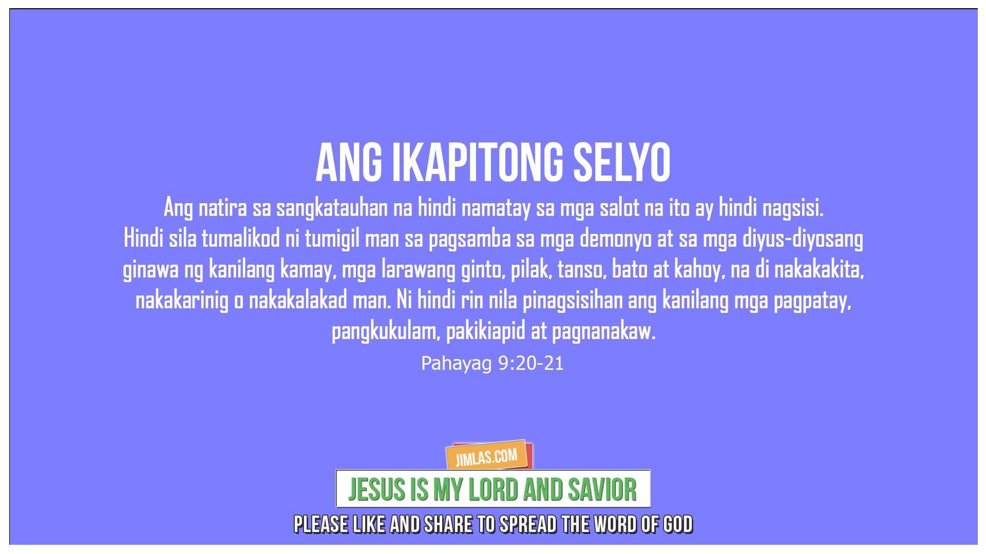 Pahayag 9:20-21, Pahayag 9:20-21